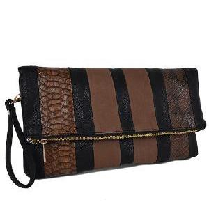 Folded Snake, leather & suede Clutch